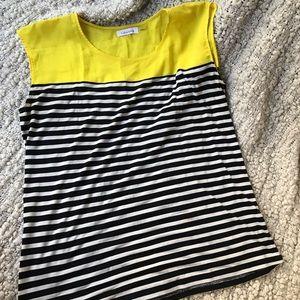 Black and white (and yellow!) sheer-shoulder top